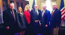 Representatives of the City of Jamestown and the Jamestown Water Department recently traveled to Washington D. C. to compete in the Great American Water Taste Test best tasting water in America contest. Jamestown tied for 6th place in the competition. The Jamestown delegation was congratulated by Congressman John Rose, who gave them a tour of the Capitol and heard their concerns regarding local infrastructure projects. Pictured above from left to right are Jamestown Water Department Supervisor Chris Ramsey,